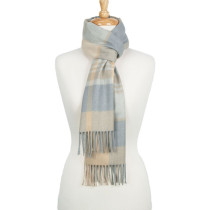 AlpaSoft Woven Scarf - Light Camel / Grey Check