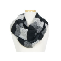 Infinite Striped Loop Scarf  - Black