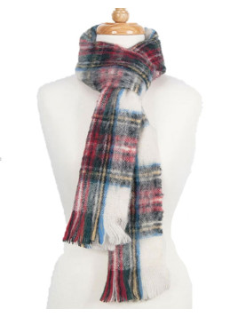 Scarf Brushed Cream Red Dress Stewart Tartan